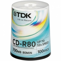 Диск CD-R 700Mb TDK 52x Cake Box (100шт) (20/01)